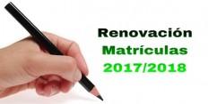 Renovación Matrículas para 2017/2018