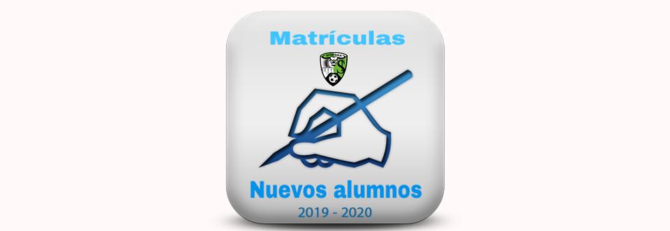 Matrículas para NUEVOS ALUMNOS temporada 2019/2020